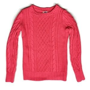 GAP Cable Knit Crew Neck Sweater Red Orange XS
